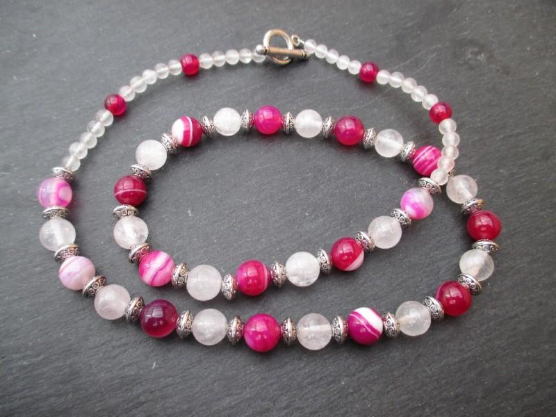 Collier agate et quartz rose
