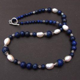 Collier lapis lazuli et perle de culture